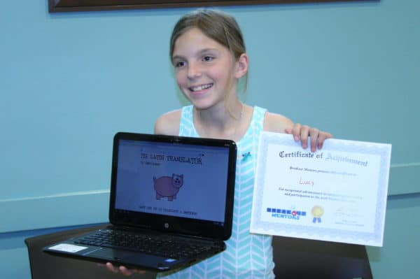 girl with certificate